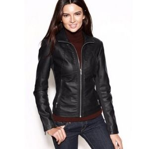 NWT Kenneth Cole Reaction Black Faux Leather Jckt